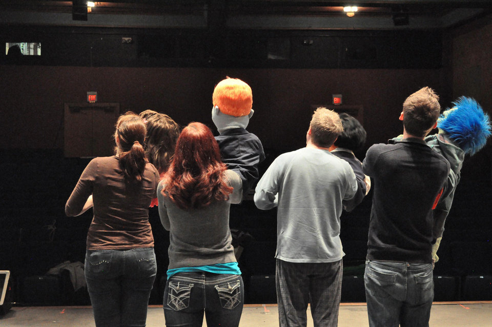 Above: Cast members, from left, Gwendolyn Evans, Crystal Ecker, Lane Fields and Jared Blount, rehearse for a production of �Avenue Q� at The Pollard Theatre in Guthrie.  PHOTO BY JONATHAN SUTTON,  THE OKLAHOMAN