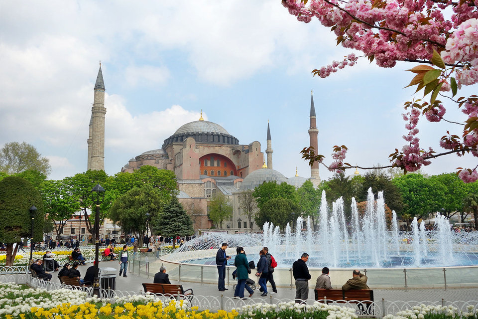 Photo -  Built by the Byzantine Emperor Justinian in the early sixth century on the grandest scale possible, the Hagia Sophia was later converted into a mosque by the conquering Ottomans. Photo by Rick Steves