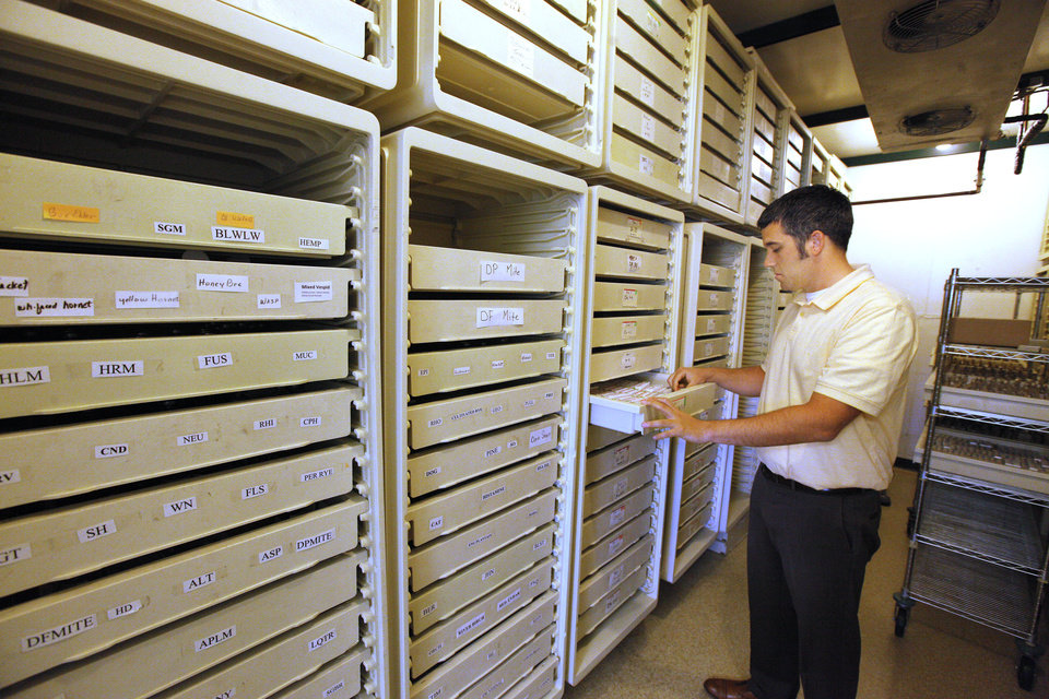 Photo -  Reese Lennarson, Oklahoma Allergy and Asthma Clinic extract lab supervisor, pulls a prescription from cold-room storage May 6 at the Oklahoma Allergy and Asthma Clinic in Oklahoma City. Photo by Paul B. Southerland, The Oklahoman   PAUL B. SOUTHERLAND -