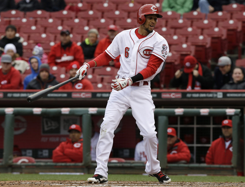 Photo - Cincinnati Reds' Billy Hamilton strikes out against Pittsburgh Pirates relief pitcher Jason Grilli in the ninth inning to end a baseball game, Tuesday, April 15, 2014, in Cincinnati. Pittsburgh won 8-7 in the game that was suspended Monday evening after six innings due to rain. (AP Photo/Al Behrman)