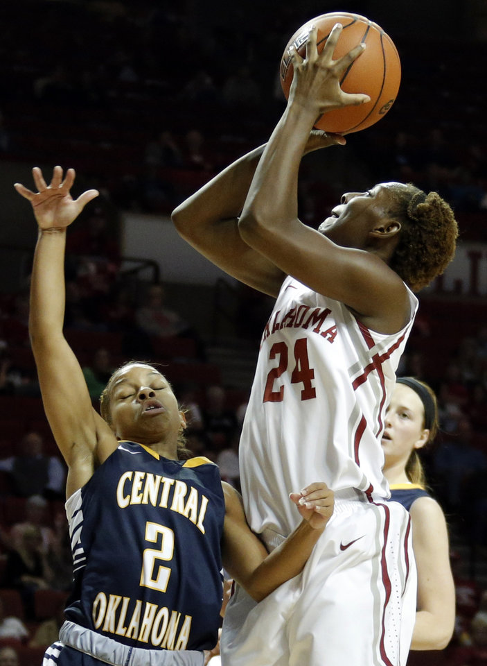 Oklahoma's Sharane Campbell shoots over UCO's Rachel New during the college women's basketball game between the University of Oklahoma and University of Central Oklahoma at the Lloyd Noble Center in Norman, Okla., Tuesday, Nov. 5, 2013. Photo by Sarah Phipps, The Oklahoman