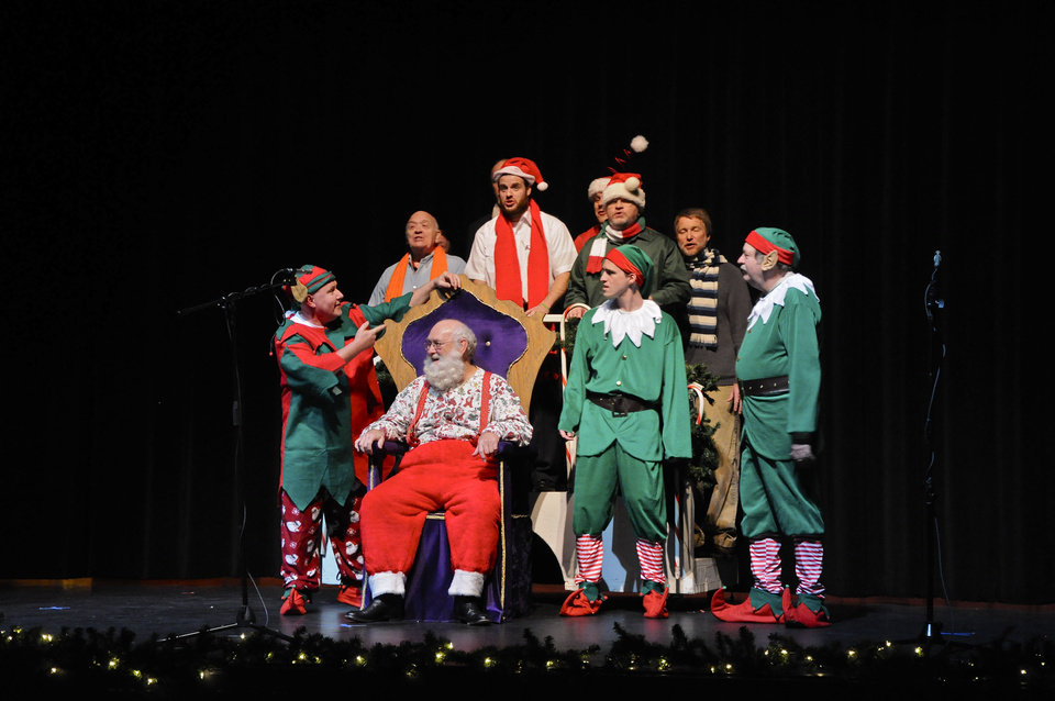 Above: OK Chorale members perform a sketch with Santa during the group's Christmas show Saturday at Putnam City West High School.