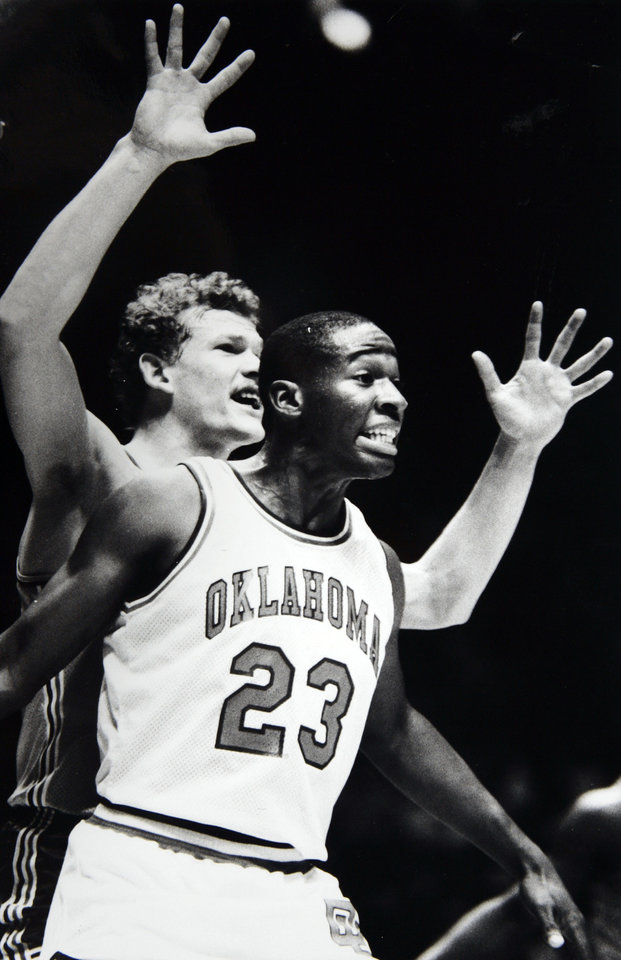 Former OU basketball player Wayman Tisdale. Wayman Tisdale had 32 points and nine rebounds for the Sooners on Saturday against The Netherlands. Staff photo by Paul S. Howell. Photo taken unknown, photo published 11/20/ 1983 in The Daily Oklahoman. ORG XMIT: KOD