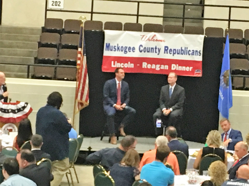 Photo - Kevin Stitt, left, and Mick Cornett participate in a Republican gubernatorial forum on Thursday in Muskogee.
