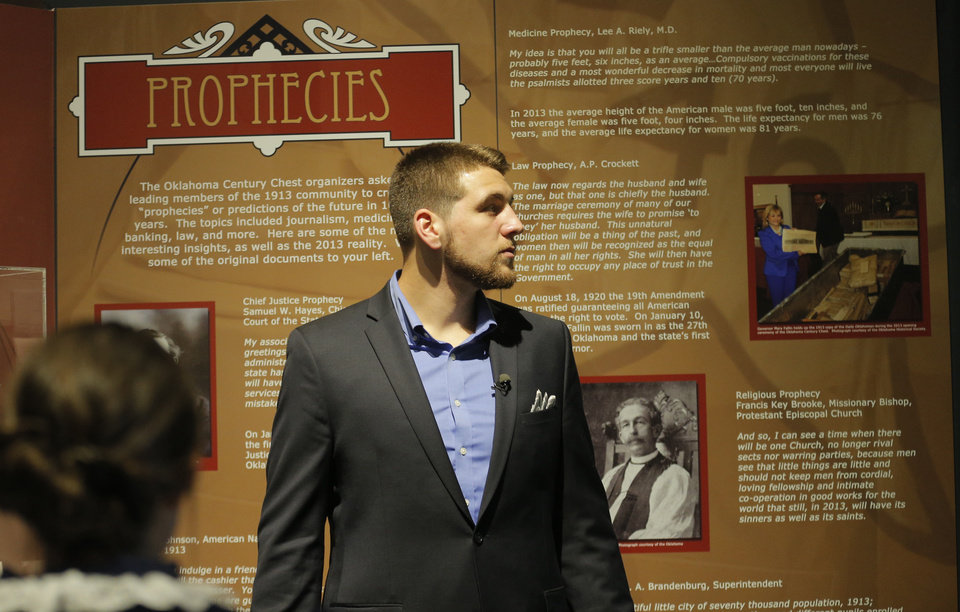 Photo - Thunder draft pick Mitch McGary tours the Oklahoma History Center in Oklahoma CIty,  Friday, June 27, 2014. Photo by Sarah Phipps, The Oklahoman