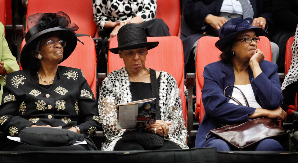 Photo - Three ladies at the service.  About 2,500 people celebrated the life and legacy of Oklahoma City civil rights pioneer Clara Mae Shepard Luper  during a lively service in the Cox Convention Center that lasted more than three hours, Friday,  June 17, 2011.  Luper died  last week at the age of 88. Photo by Jim Beckel, The Oklahoman