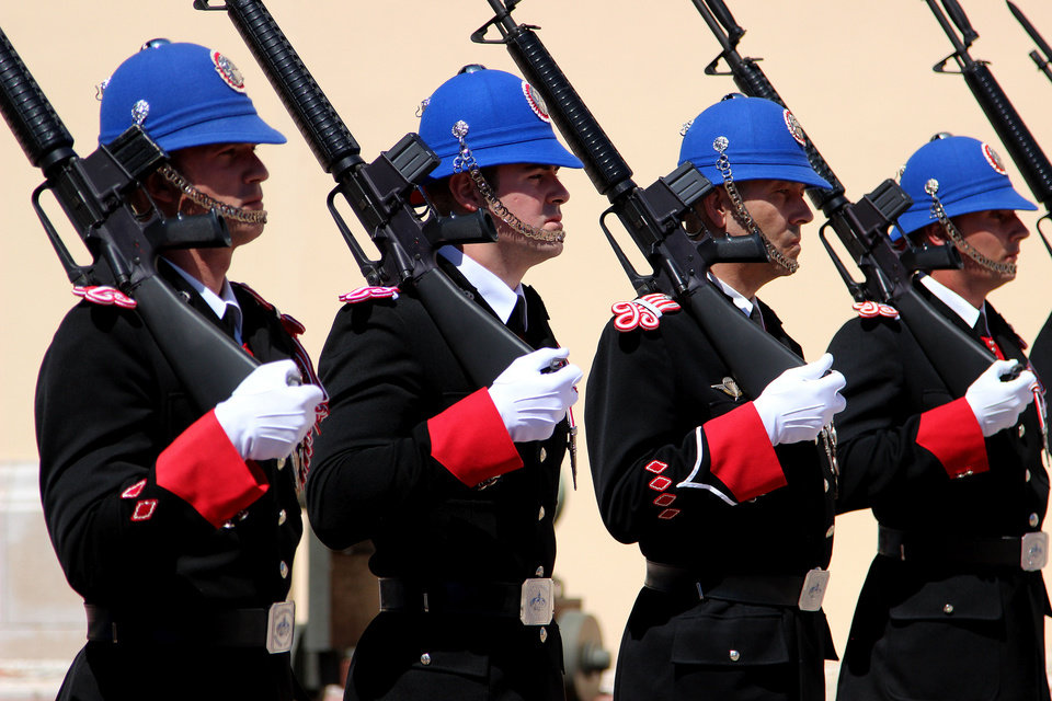 Photo - This May 13, 2013 photo shows the changing of the guard outside the Prince's Palace in Monaco at 11:55 a.m. each day. It's one of a number of free things to see and do in Monaco. (AP Photo/Michelle Locke)