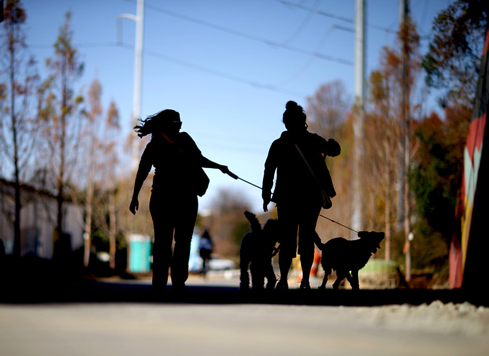 Photo -   In this Nov. 20, 2012 photo, pedestrians walk their dogs along the Atlanta BeltLine in Atlanta. Since an Atlanta nonprofit opened a 2.25-mile-long paved trail east of downtown last month, it has attracted a steady stream of joggers, dog-walkers and cyclists to take in spectacular views of the skyline as well as a slice of established neighborhoods that were once only seen by riding a freight train. The Eastside Trail is the latest and most visible phase of the Atlanta BeltLine, an ambitious $2.8 billion plan to transform a 22-mile railroad corridor that encircles Atlanta into a network of parks, trails, public art, affordable homes and ultimately streetcars. (AP Photo/David Goldman)