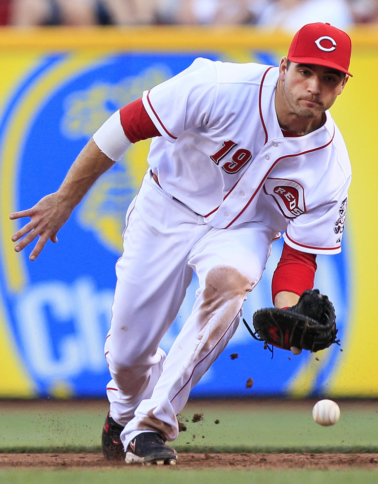 Photo -   Cincinnati Reds first baseman Joey Votto fields a ground ball hit by Minnesota Twins' Denard Span in the third inning of a baseball game, Friday, June 22, 2012 in Cincinnati. Votto made the out at first. (AP Photo/Al Behrman)