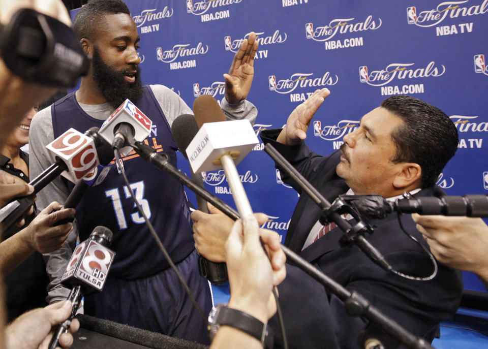 The Jimmy Kimmel Show\'s Guillermo Rodriguez interviews Oklahoma City\'s James Harden during the NBA Finals practice day at the Chesapeake Energy Arena on Monday, June 11, 2012, in Oklahoma City, Okla. Photo by Chris Landsberger, The Oklahoman