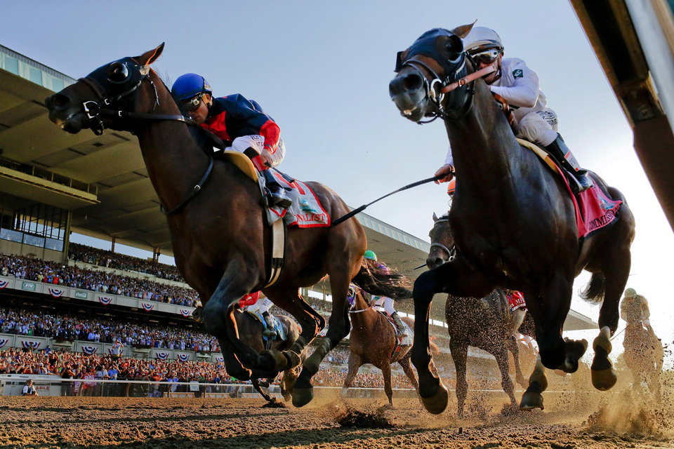 Photo - Tonalist, left, with Joel Rosario up edges out Commissioner with Javier Castellano up to win the 146th running of the Belmont Stakes horse race, Saturday, June 7, 2014, in Elmont, N.Y. (AP Photo/Matt Slocum)
