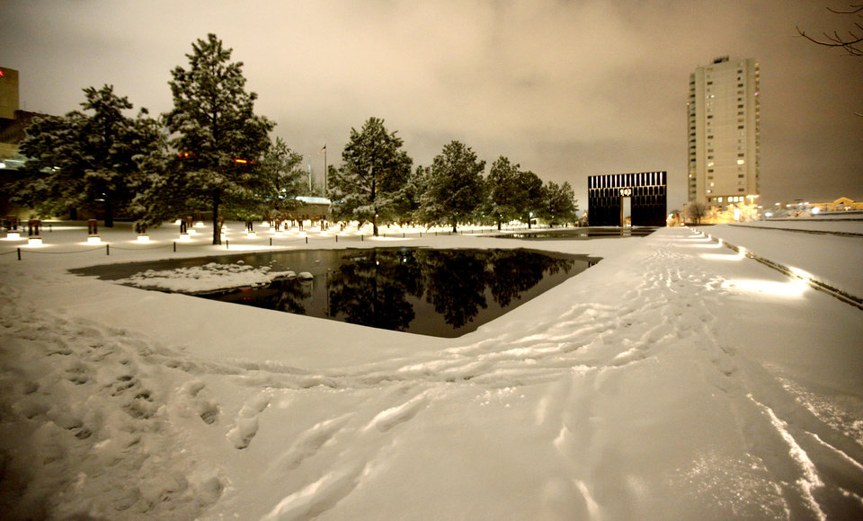 Snow covers the ground at the Oklahoma City National Memorial in Oklahoma City Friday, Jan. 29, 2010.  Photo by Bryan Terry, The Oklahoman