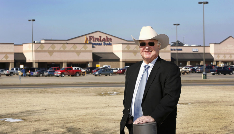John Barrett,  chairman of the Citizen Potawatomi Nation tribe, shows off the tribe's grocery store on Wednesday. <strong>Jim Beckel - THE OKLAHOMAN</strong>