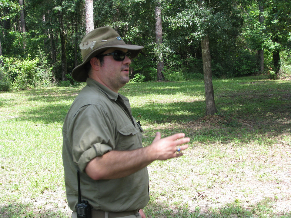Photo -   Park Ranger Stacey Gardner has dedicated his career to teaching visitors about the history and nature of Blakeley State Park just north of Mobile Bay. Photo by Peter Wright, for The Oklahoman