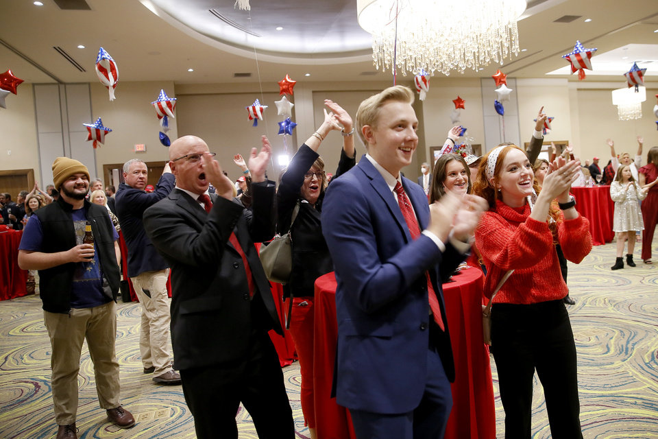 Photo - Supporters cheer during a Republican Party election night watch party in Edmond, Tuesday, Nov. 3, 2020. [Bryan Terry/The Oklahoman]