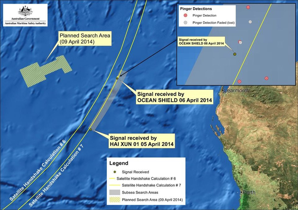Photo - This image provided by the Joint Agency Coordination Centre on Wednesday, April 9, 2014, shows a map indicating the locations of signals detected by vessels looking for signs of the missing Malaysia Airlines Flight 370 in the southern Indian Ocean. An Australian official overseeing the search for the missing Malaysia Airlines plane said underwater sounds picked up by equipment on an Australian navy ship are consistent with transmissions from black box recorders on a plane. (AP Photo/Joint Agency Coordination Centre) EDITORIAL USE ONLY
