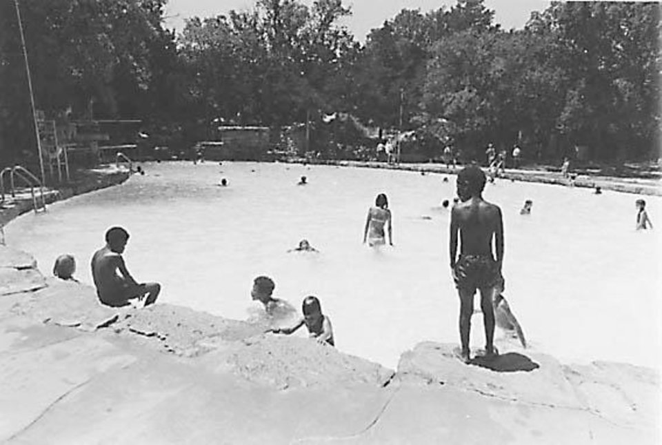 Photo - The large, rock swimming pool at Roman Nose State Park was built by the Civilian Conservation Corps in the 1930s. OKLAHOMA STATE PARKS