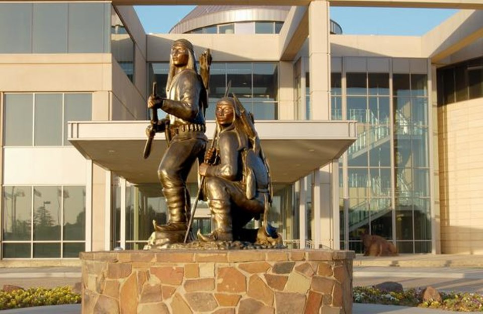"""Photo -  """"The Unconquered,"""" a monumental bronze sculpture by Allan Houser, stands in front of the Oklahoma History Center. Photo provided"""