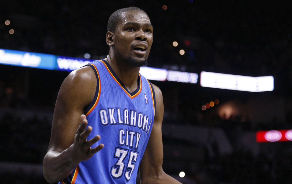 Kevin Durant reacts to a call at the AT&T Center in San Antonio on Monday.                                                                             Photo by Sarah Phipps, The Oklahoman