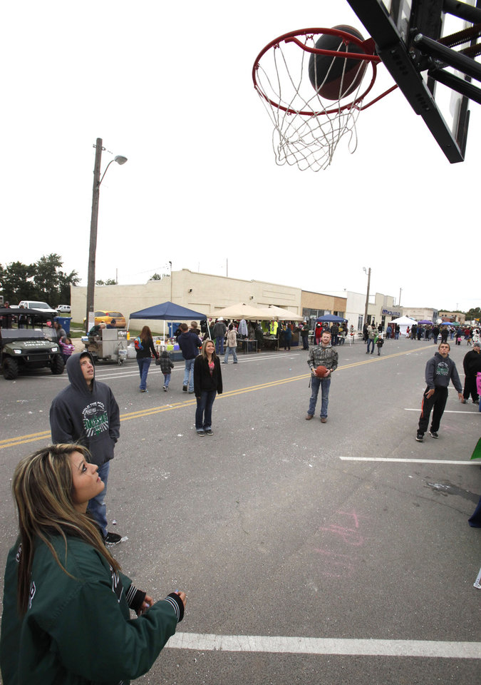 Teenagers play basketball during the Jones Old Timers Day celebration in Jones, OK, Saturday, October 6, 2012,  By Paul Hellstern, The Oklahoman