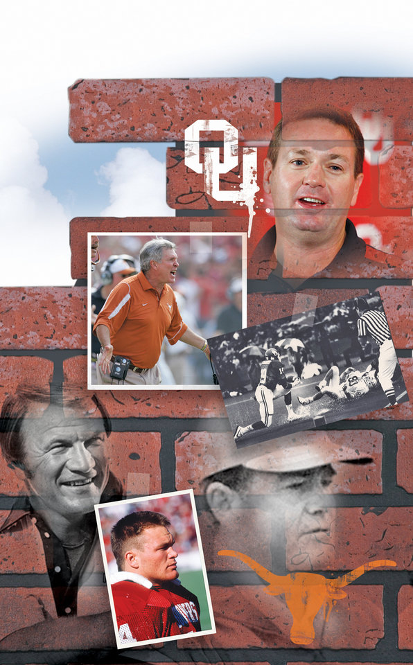 Photo - ANOTHER BRICK IN THE OU-TEXAS WALL GRAPHIC / ILLUSTRATION with photos from top right, clockwise: 1) OU: University of Oklahoma college football head coach Bob Stoops speaks at his press conference at the Stadium Club in Norman, Oklahoma on Sunday, November 30, 2008.     By Steve Sisney, The Oklahoman       2) COLLEGE FOOTBALL: As Texas receiver Bill Boy Bryant splashes down on the turf of the Cotton Bowl, OU's Keith Stanberry makes an apparent interception on the next-to-last play. The official appears to have a clear view but rules Stanberry out of bounds. (Original photo taken 10/13/84, ran 10/15/84)         3) Former University of Texas college football coach Darrell Royal works with one of his quarterbacks during a practice.       4) COLLEGE FOOTBALL / UNIVERSITY OF OKLAHOMA: Color transparency of  OU linebacker Brian Bosworth intently watching a game from the sidelines, perhaps the 12/7/85 home game against SMU ( a 35-13 win for OU). Staff photo by Jim Argo, probably taken 12/7/85; photo ran in the 12/10/85 Daily Oklahoman. File:  Football/OU/OU-SMU/Brian Bosworth/1985         5) Barry Switzer, head football coach  at the University of Oklahoma.  Stock OU photo ran in the 9-28-85 Daily Oklahoman.          6)  REACTION / OU: University of Texas coach Mack Brown reacts in the second quarter of an NCAA college football game against University of Oklahoma, Saturday, Oct. 11, 2008, in Dallas. (AP Photo/Tony Gutierrez)