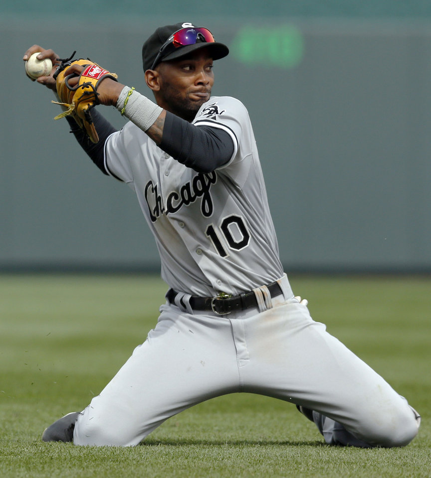 Photo - Chicago White Sox shortstop Alexei Ramirez throws out Kansas City Royals designated hitter Billy Butler during the seventh inning of a baseball game at Kauffman Stadium in Kansas City, Mo., Sunday, April 6, 2014. The White Sox won 5-1. (AP Photo/Orlin Wagner)