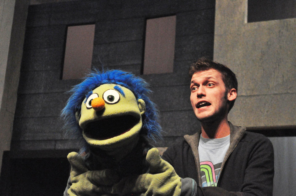 Actor Jared Blount rehearses for The Pollard Theatre�s production of �Avenue Q.�  PHOTOs BY JONATHAN SUTTON, THE OKLAHOMAN