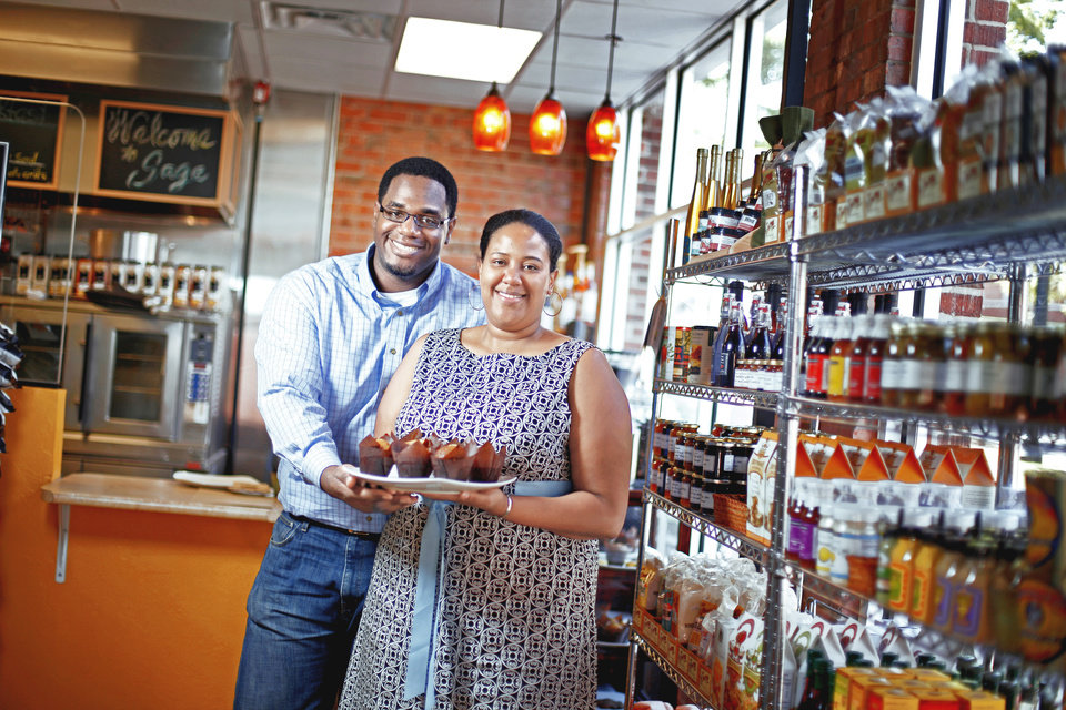 Kevin and Charifa Smith stand inside the Sage Gourmet & Organic Market in Bricktown on Wednesday. PHOTO BY BRYAN TERRY, THE OKLAHOMAN