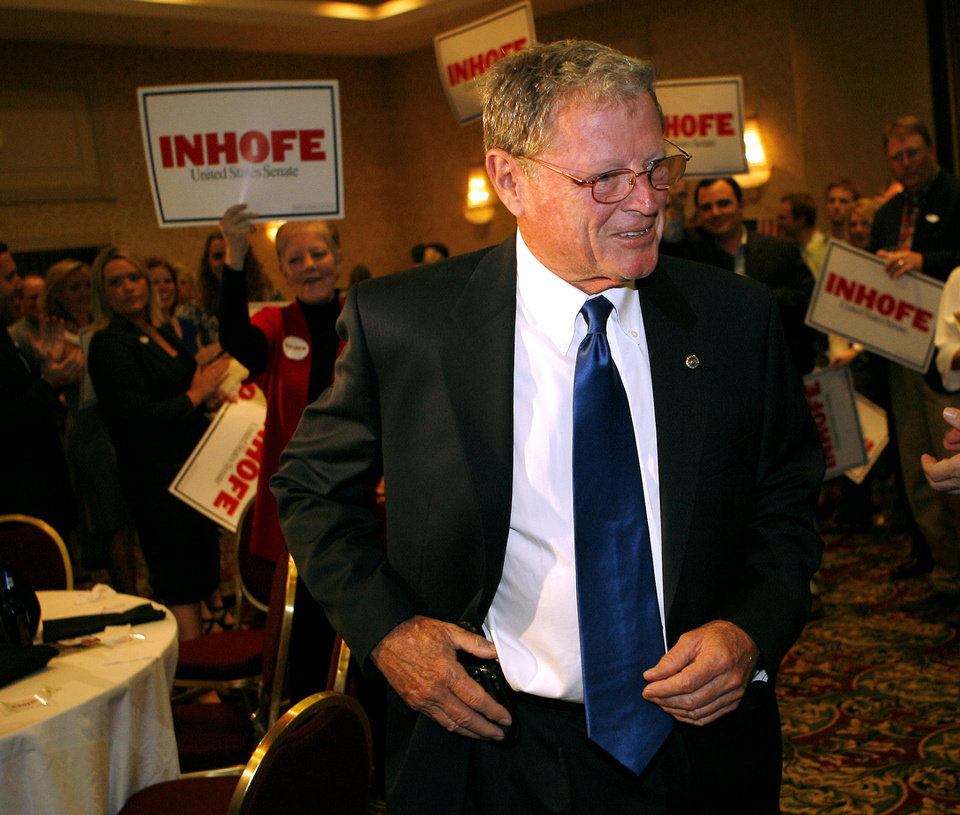 Photo - Senator Jim Inhofe greets supporters during the Republican watch party at the Oklahoma City Marriott on Northwest Expressway in oklahoma City on Tuesday Nov. 4, 2008. By John Clanton, The Oklahoman