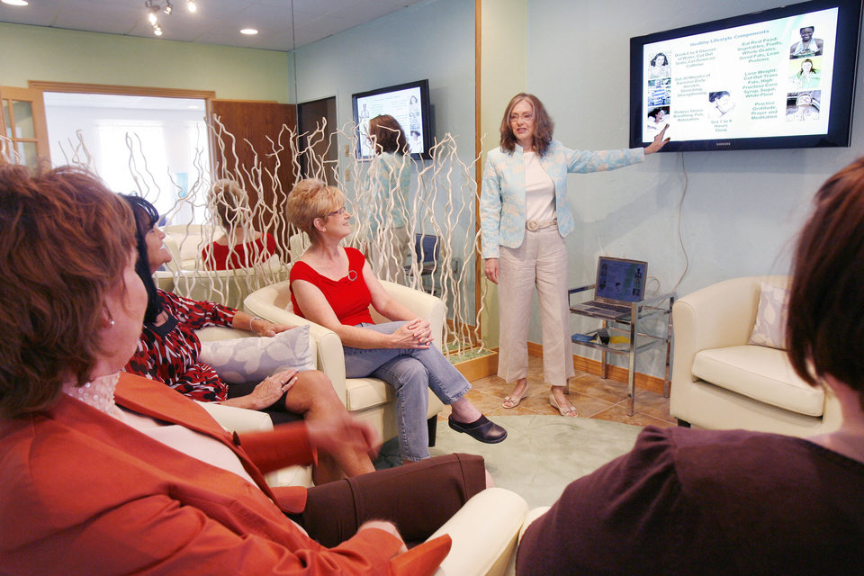 Marsha Mueller conducts a class at Wellstates, a new wellness-centered business in Edmond, OK, Friday, April 24, 2009. BY PAUL HELLSTERN, THE OKLAHOMAN