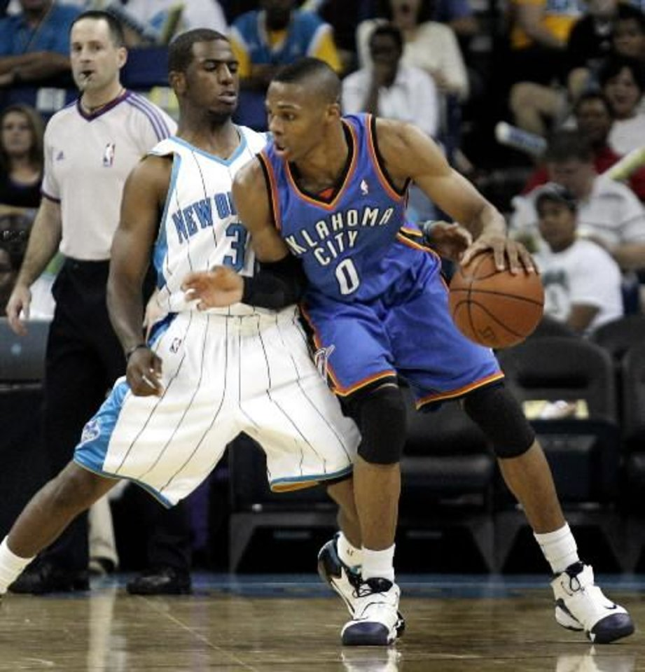 Don\'t hold your breath for Russell Westbrook (0) and Chris Paul to trade places.