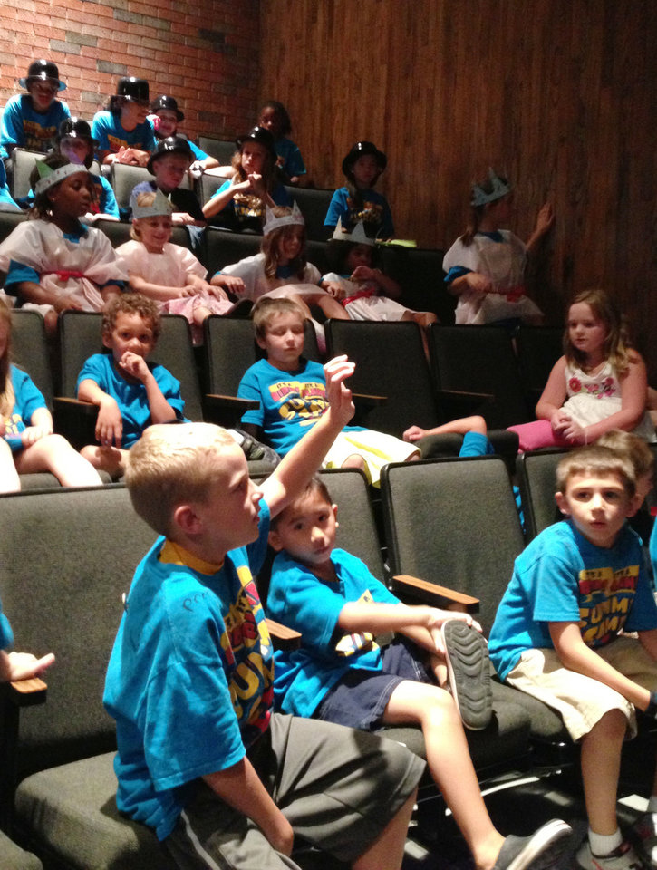 Oklahoma Children's Theatre campers eagerly await their turn to perform at Oklahoma City University's Burg Theater on July 19. PHOTO PROVIDED. <strong></strong>