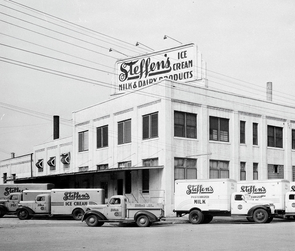 Photo - Steffen's Ice Cream at 101 E Main, as shown in this 1946 photo. The dairy operated at the site for several decades. Developers are wanting to demolish the structure and replace it with a Holiday Inn Express. Photo provided  PROVIDED