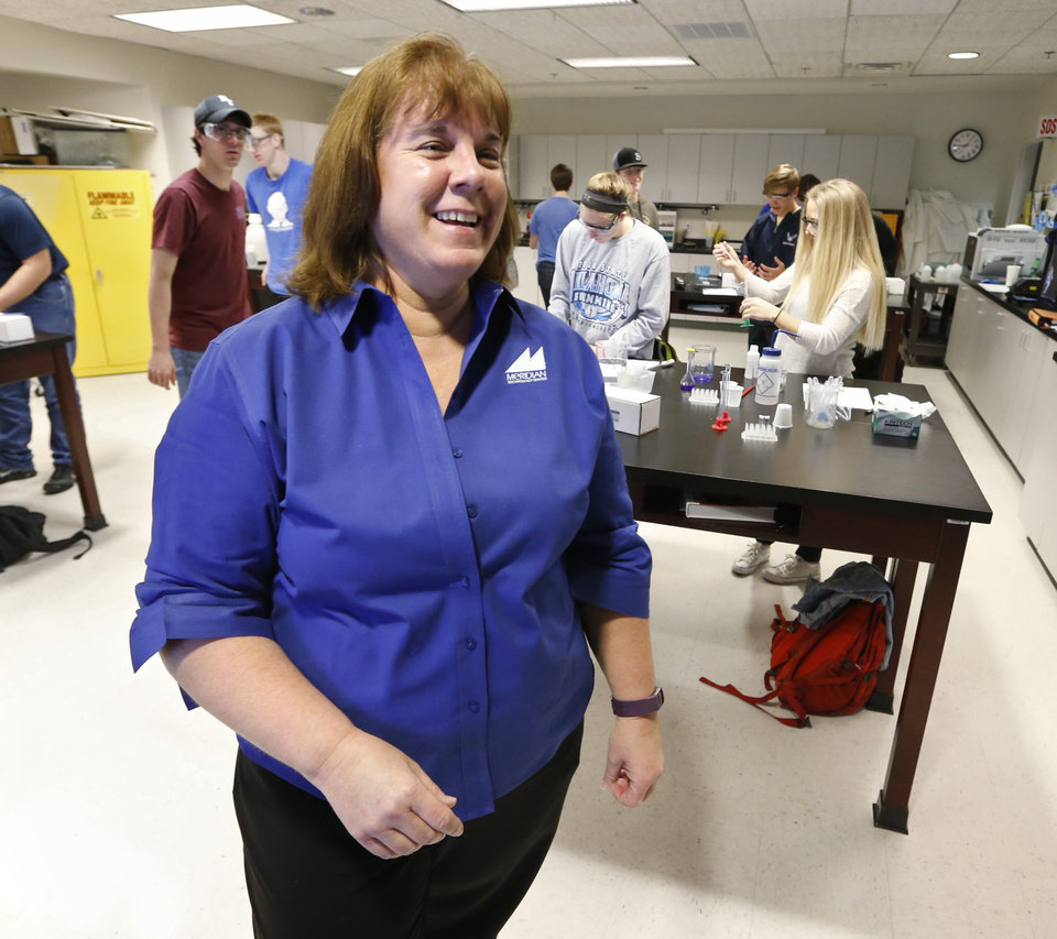 Photo - Debbie Short, STEM instructor at Meridian Technology Center conducts class on Tuesday, March 13, 2018 in Stillwater, Okla.  Photo by Steve Sisney, The Oklahoman