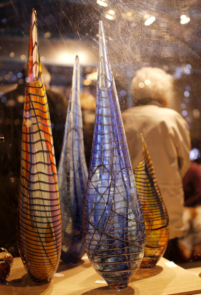 Photo - Window display at Bella Forte Glass Studios at the Winter Shops at Myriad Gardens. Photo by Doug Hoke, The Oklahoman  DOUG HOKE - THE OKLAHOMAN