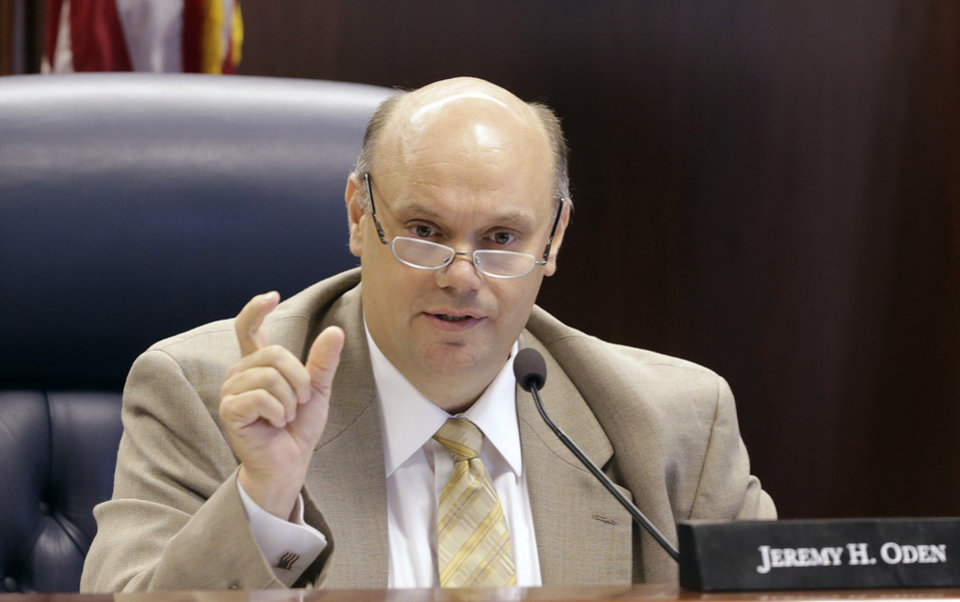 Photo - Alabama Public Service Commissioner Jeremy Oden is shown in a file photo made in Montgomery, Ala., on Tuesday, July 2, 2013. Oden is seeking the PSC Place 1 seat in the Republican primary on June 3. He is running against Kathy Peterson of Hoover. (AP Photo/Dave Martin)