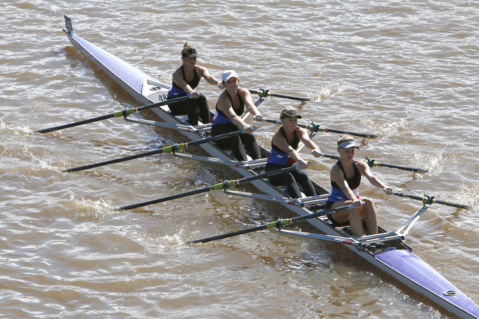 The Texas Rowing A team competes in the Oklahoma Regatta Festival on the Oklahoma River in Oklahoma City, OK, Saturday, October 5, 2013,  Photo by Paul Hellstern, The Oklahoman