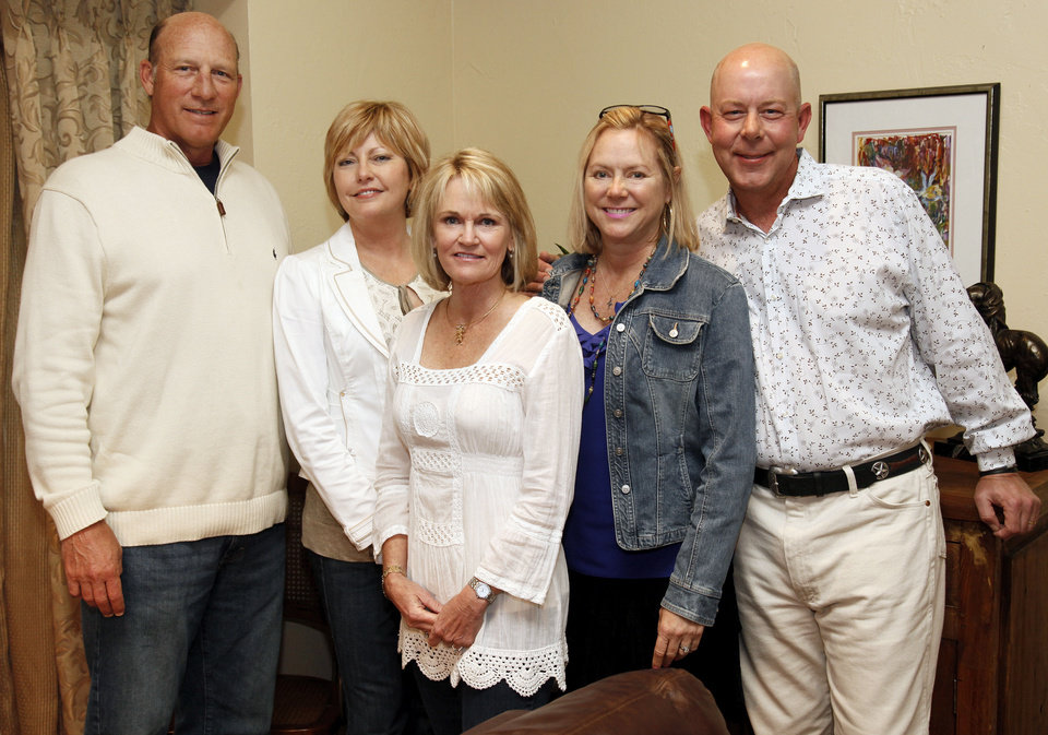 Photo - From left, hosts A.G. Meyers, Beth Meyers, Becky Haugen, Marty Smith and Hoffie Smith pose for a photo during a fiesta and wedding shower for Natalie Law and Chris Daniels at the home of Becky and Chris Haugen, 2517 Clermont Place, in Oklahoma City, Friday, May 11, 2012. Photo by Nate Billings, The Oklahoman