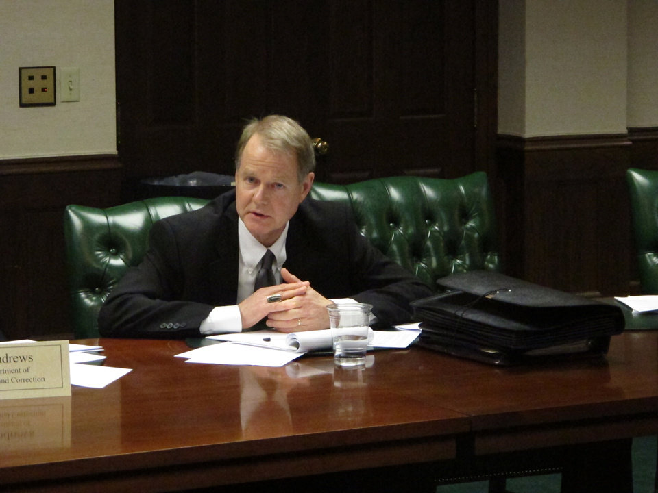 FILE - This Thursday, Feb. 14, 2013 file photo shows Greg Trout, general counsel for the Ohio prisons department, at a state Supreme Court death penalty task force in Columbus, Ohio. Trout, the top lawyer for the Ohio prisons system, steps down this month after more than three decades to take a new job with the Ohio Attorney General\'s office. (AP Photo/Andrew Welsh-Huggins)