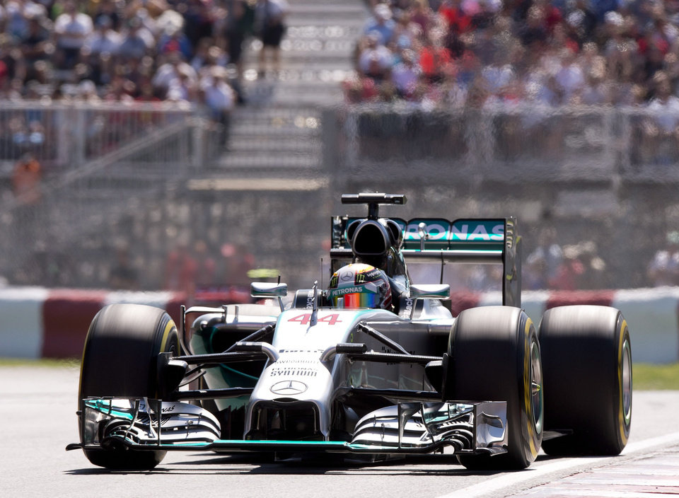 Photo - Mercedes driver Lewis Hamilton from Great Britain during the morning practice session Saturday, June 7, 2014 at the Canadian Grand Prix in Montreal. (AP Photo/The Canadian Press, Jacques Boissinot)
