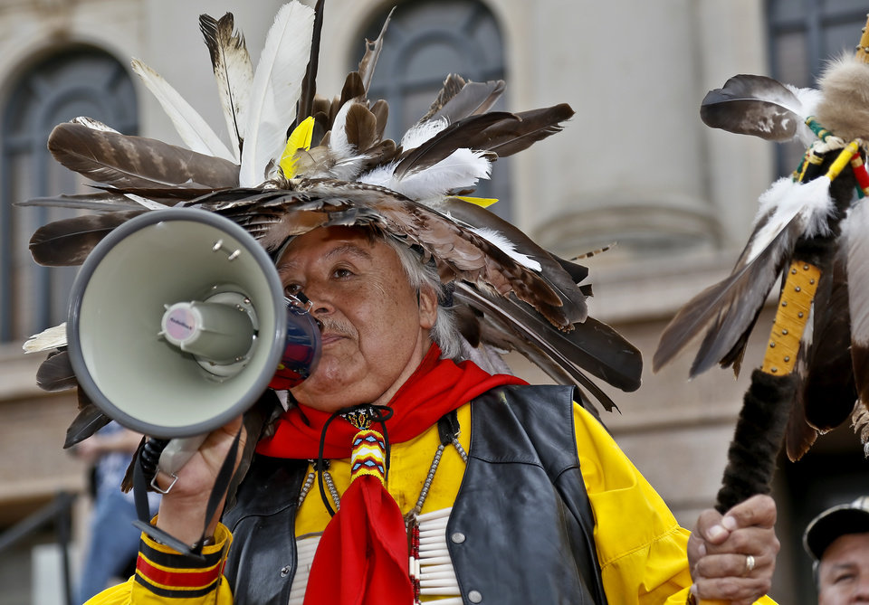 Burt Poorbuffalo speaks during a rally on the north side of the state Capitol for Native American rights on Monday, Jan. 28, 2013, in Oklahoma City, Okla.  Photo by Chris Landsberger, The Oklahoman