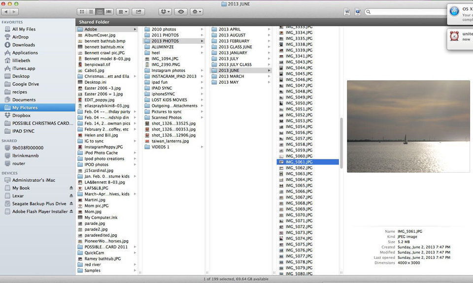 Photo - One way to organize photos on your desktop is in folders by year, then by month, depicted in this screen shot from a Mac desktop computer.