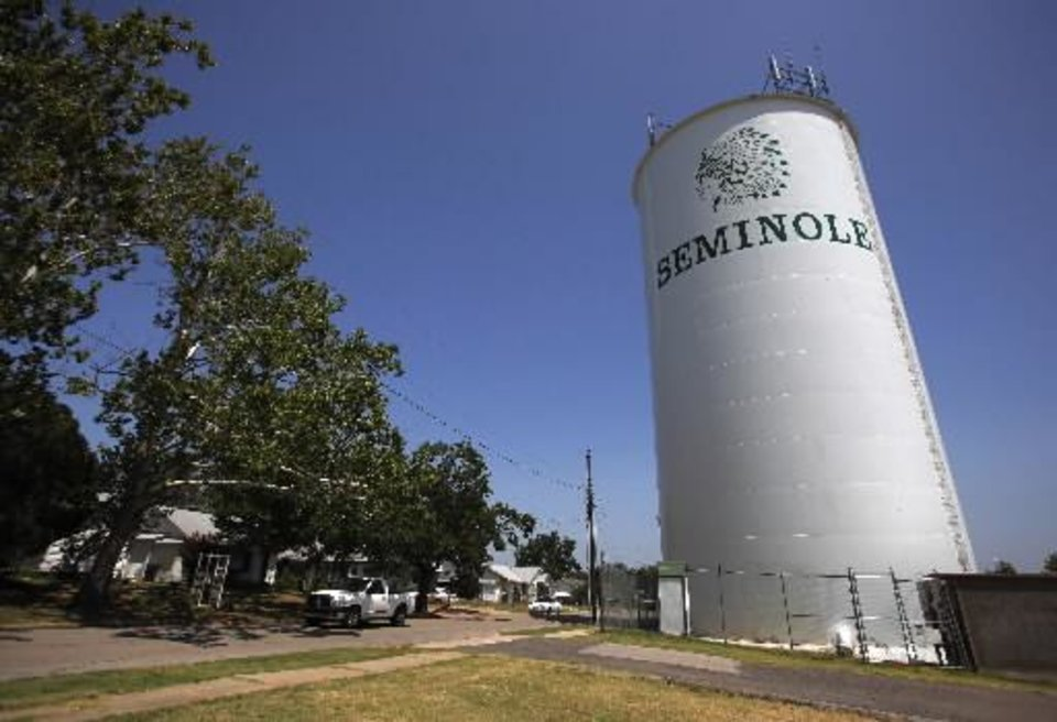 Photo - The Seminole water tower in Seminole, Okla., July 4, 2012. Photo by Garett Fisbeck, The Oklahoman