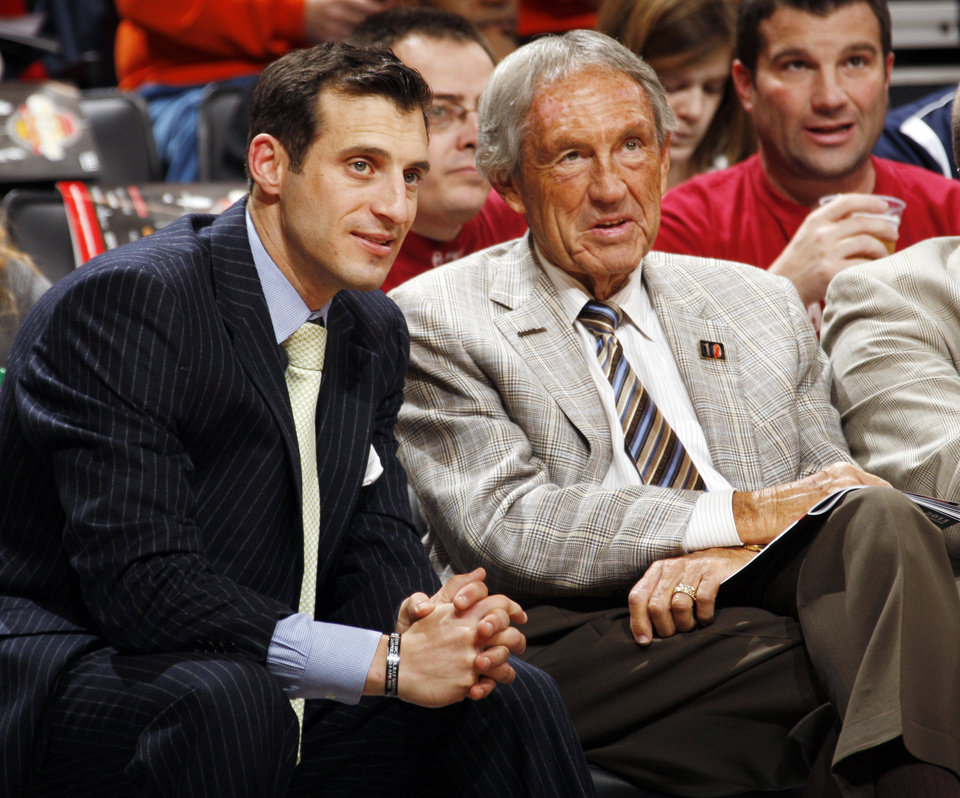 Former Oklahoma State University head coach Eddie Sutton, right, talks with ESPN broadcaster and former OSU basketball player Doug Gottlieb in the first half during the Pete Maravich men\'s college basketball game of the Ramada All-College Classic between the University of Oklahoma Sooners and the University of Houston Cougars at the Chesapeake Energy Arena in Oklahoma City, Saturday, Dec. 17, 2011. Photo by Nate Billings, The Oklahoman