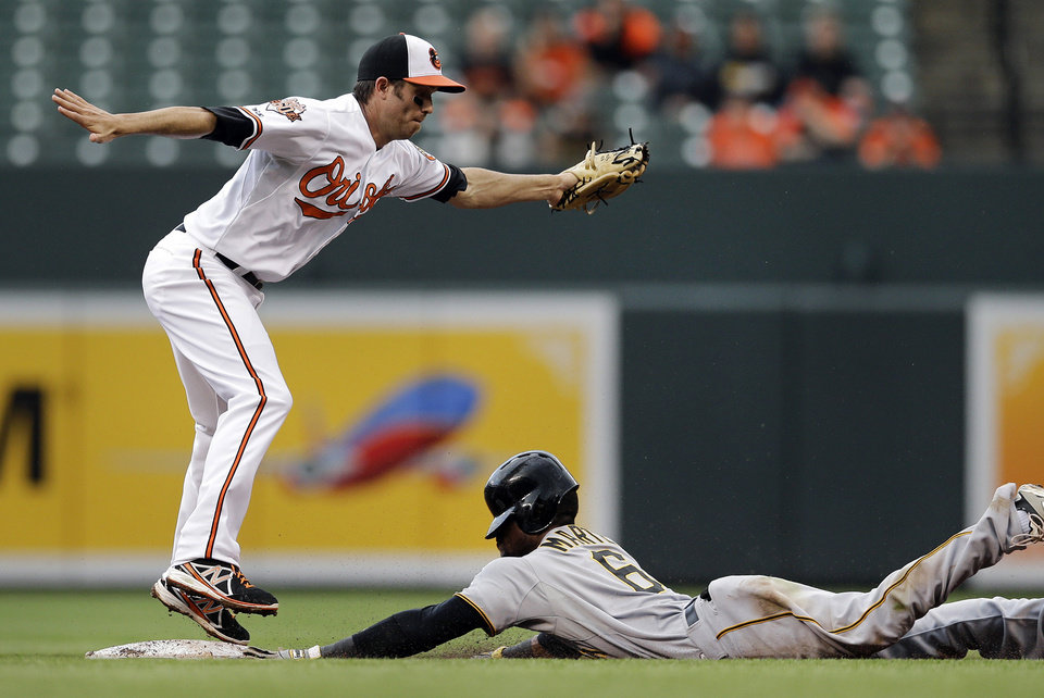 Photo - Pittsburgh Pirates' Starling Marte, bottom, beats the tag by Baltimore Orioles shortstop J.J. Hardy while stealing second base in the fourth inning of the first baseball game of a doubleheader on Thursday, May 1, 2014, in Baltimore. (AP Photo/Patrick Semansky)