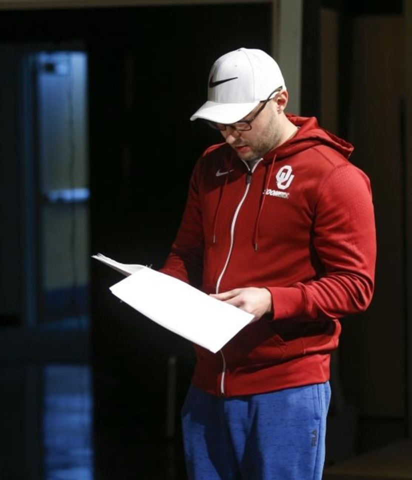 "Photo -  Director Peter Zhmutski looks at a script during rehearsals to film ""Marvin´s Shining Star,Ó a play targeted toward children about the trauma caused by incarceration, at the Nancy O´Brian Center for the Performing Arts in Norman, Okla., Tuesday, Jan. 7, 2020. Zhmutski is also a writer and producer on the project. [Nate Billings/The Oklahoman]"