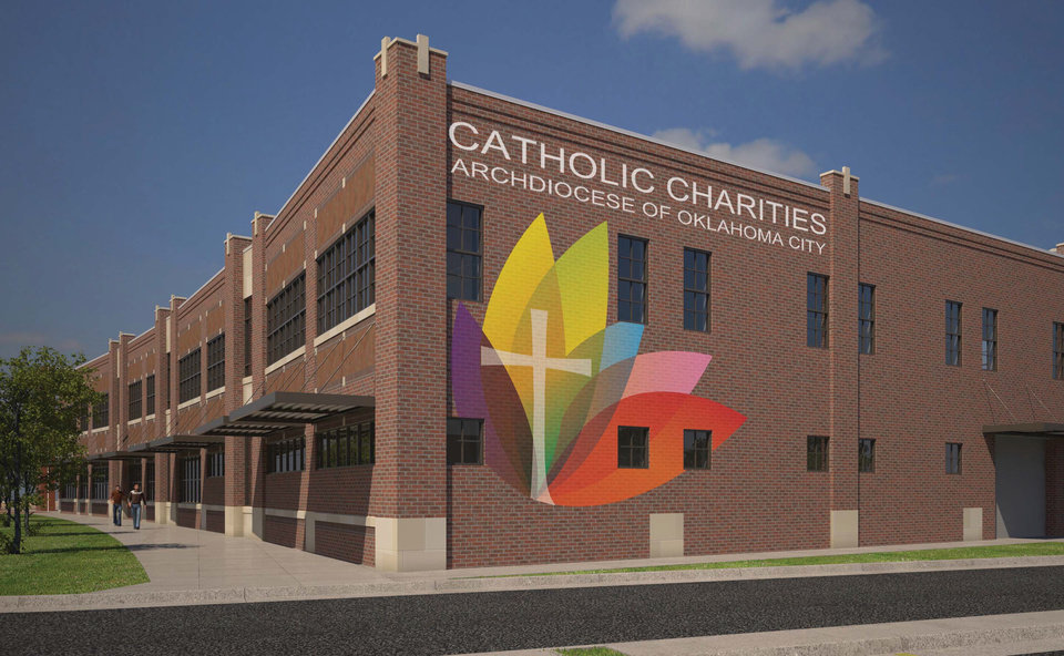 Photo -  A sign painted on the future home of Catholic Charities of Oklahoma City is inspired by the early day architecture that once existed along Classen Boulevard west of downtown.  Drawing provided by Mass Architects