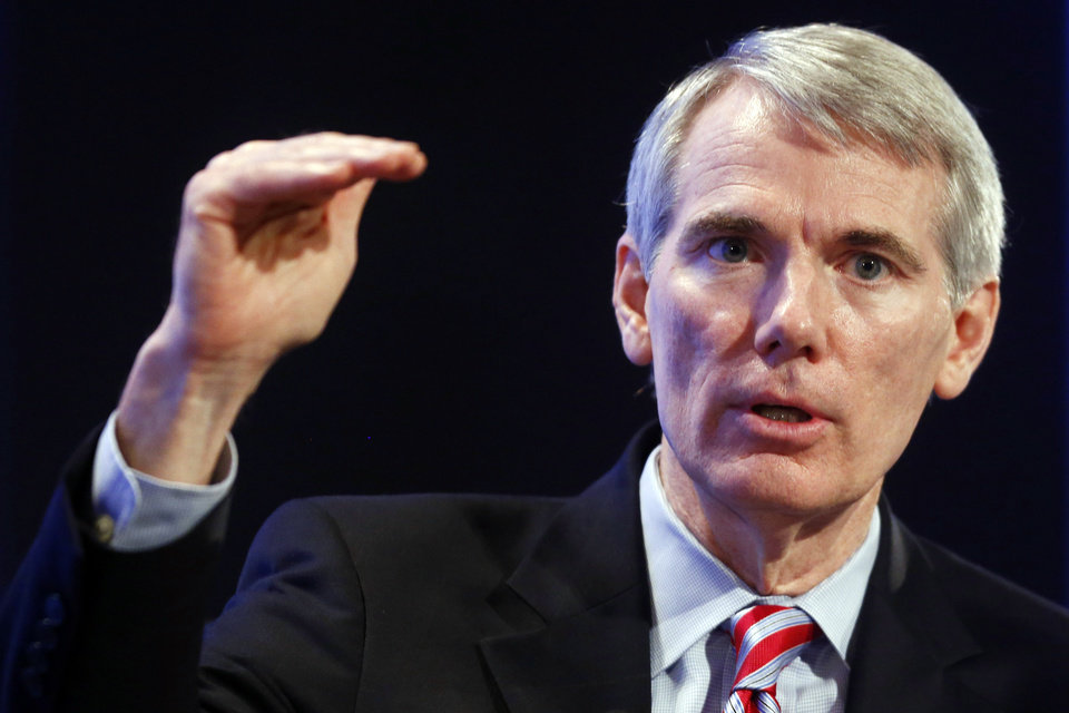 Sen. Rob Portman, R-Ohio, speaks about the budget at the 2013 Fiscal Summit in Washington, Tuesday, May 7, 2013. (AP Photo/Charles Dharapak)