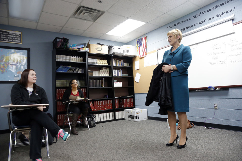 """Photo - State schools Superintendent Janet Barresi talks with a class Tuesday during her """"Raise the Grade Together"""" tour of Bethany schools. Photos by Sarah Phipps, The Oklahoman"""