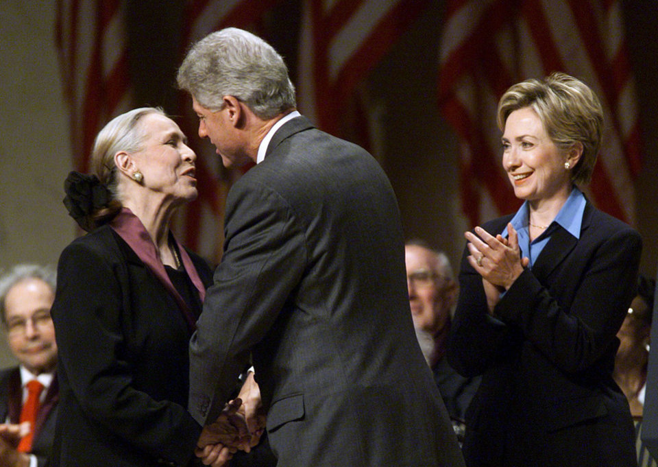 Photo - First lady Hillary Rodham Clinton applauds as President Bill Clinton congratulates Maria Tallchief after presenting her with a National Medal of Arts in 1999.   AP Photo/J. Scott Applewhite  J. SCOTT APPLEWHITE  AP - Associated Press